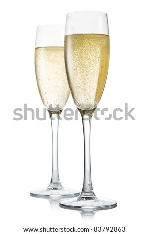 Two glasses of champagne. Isolated on white backgroun #83792863