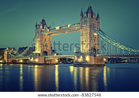 Color toned image of Tower Bridge