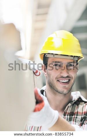 handsome hard worker people portrait at construction site #83855734