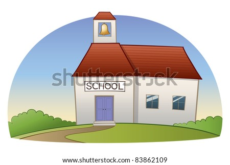 School building illustration.  A winding path leads the way back to school, on a hill, amongst some bushes.