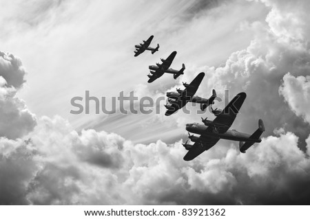 Black and white retro image of Lancaster bombers from Battle of Britain in World War Two Royalty-Free Stock Photo #83921362