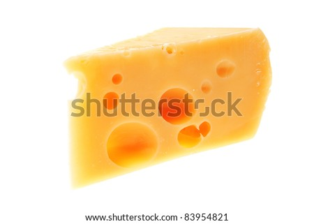 piece of french parmesan cheese isolated on a white background #83954821