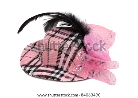 Hat with feather isolated on white background #84063490