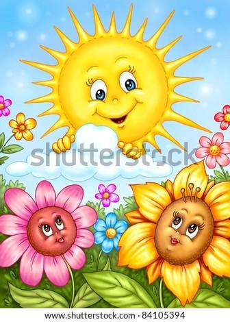 Sun and Happy Flowers Illustration