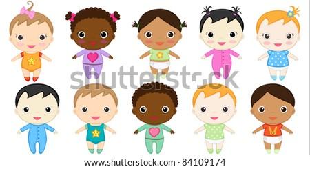 Twelve happy baby girls and boys. Raster version.