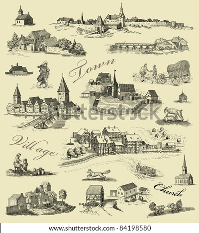 Old town illustration