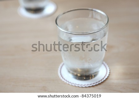Glass with water on wood background #84375019