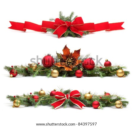 Delicate Christmas ornaments,Isolated on white background.