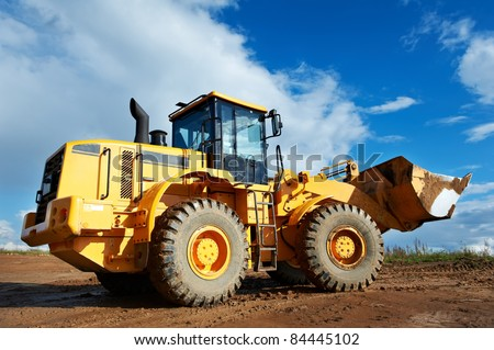 heavy construction loader bulldozer at construction area #84445102