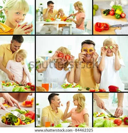 Collage of happy family vegetarians cooking and having breakfast #84462325