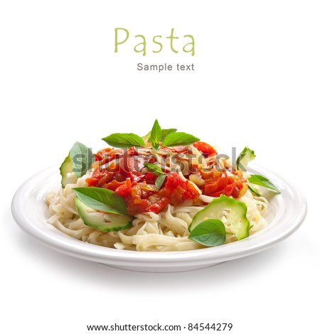 Pasta with tomato sauce basil and grated parmesan #84544279