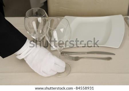 Preparing a table in a restaurant #84558931