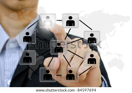 business young pushing people communication social network on  whiteboard. #84597694
