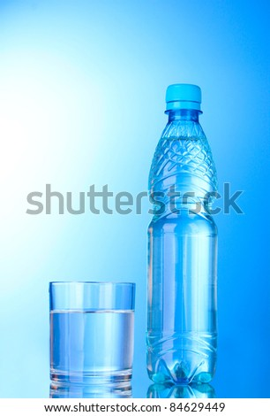Bottle of water and glass on blue background #84629449