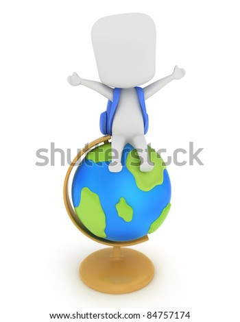Illustration of a Kid Sitting on Top of a Globe