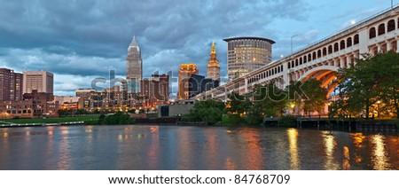 Cleveland skyline at twilight.