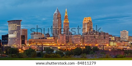 Cleveland. Panoramic image of Cleveland downtown at twilight blue hour.