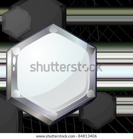 Gray tech background with grid and heads of bolts #84813406