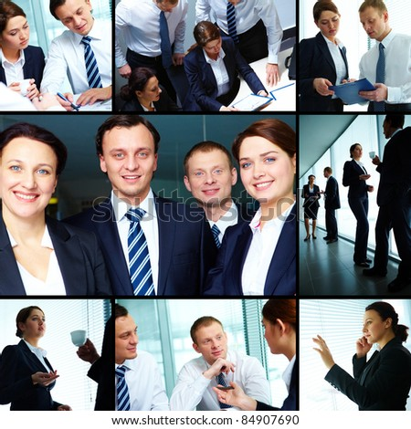Collage of business partners working together #84907690