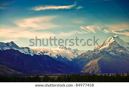 New Zealand scenic mountain landscape shot at Mount Cook National Park. #84977458