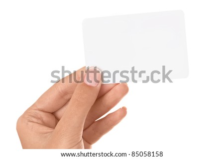 Empty business card in a woman's hand isolated on white background.