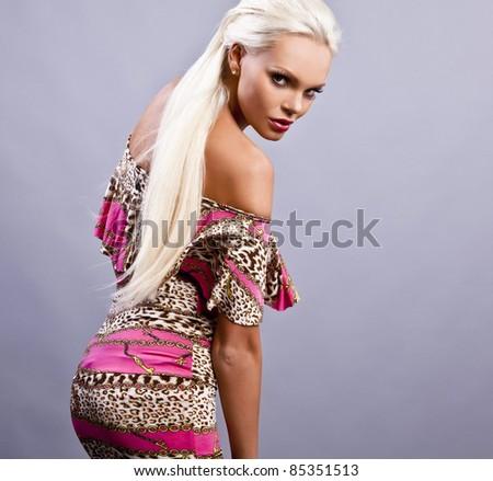 Sensual girl in fashion dress, studio shot. Photo. #85351513