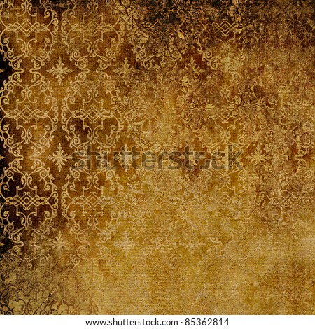 art grunge vintage damask pattern, paper relief textured monochrome background in gold and brown colors