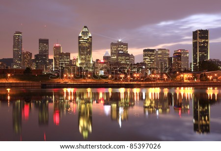 Montreal skyline at dusk, Quebec, Canada