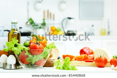 healthy foods are on the table in the kitchen #85440868