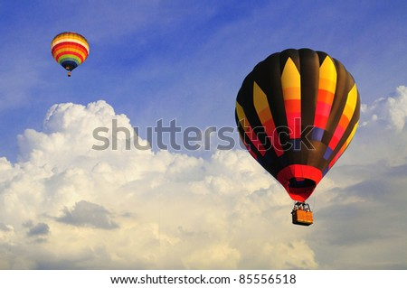 hot air balloon with blue sky and nice cloud #85556518