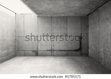 Empty warehouse room with concrete walls and floor. #85785571