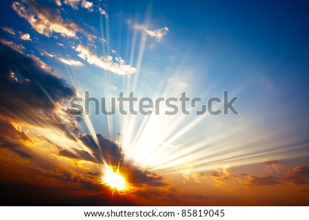 Sunset with sun rays #85819045