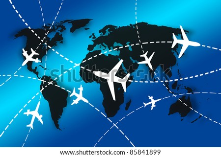 planes Routes around the world for travel concept