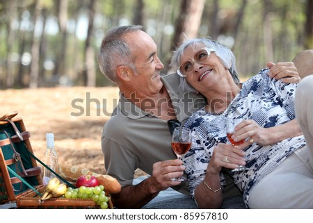 senior couple having a romantic picnic in the park #85957810