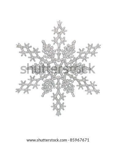 Silver snowflake, isolated w/clipping path Royalty-Free Stock Photo #85967671
