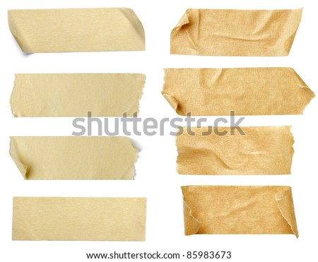 collection of  various adhesive tape pieces on  white background. each one is shot separately #85983673