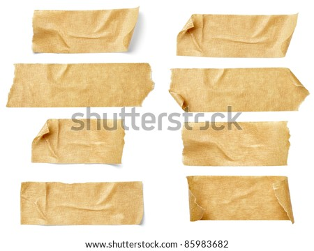 collection of  various adhesive tape pieces on  white background. each one is shot separately #85983682
