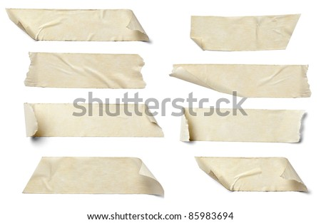 collection of  various adhesive tape pieces on  white background. each one is shot separately #85983694