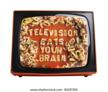 subversive spaghetti message on view of retro orange television