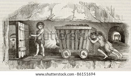 Children working as coal miners, pulling a cart. By unidentified author, published on Magasin Pittoresque, Paris, 1843