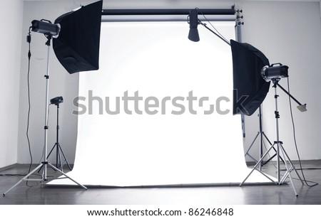 Empty photo studio with  lighting equipment #86246848