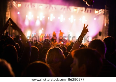 Crowds of people having fun on a music concert #86280877
