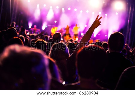 Crowds of people having fun on a music concert #86280904