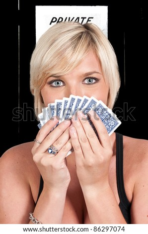 A beautiful woman playing cards - lady luck #86297074