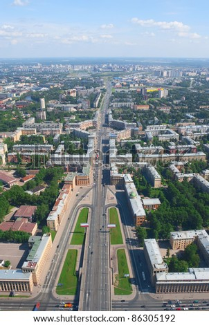 Birdseye view of Zanevsky avenue in St. Petersburg, RU #86305192