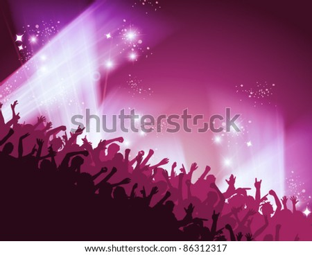 people dancing in the club under red pink light #86312317