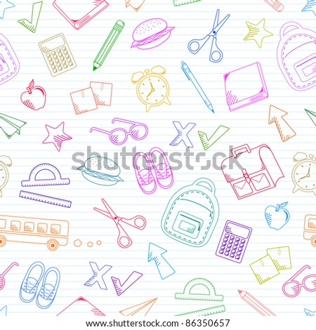 seamless pattern of school doodles (raster version)