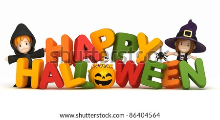 3D render of kids in halloween costume and word