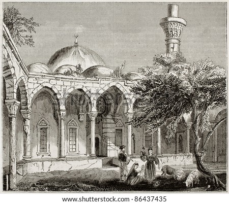 Mosque in Payas old illustration, southern Turkey. By unidentified author, published on Magasin Pittoresque, Paris, 1843
