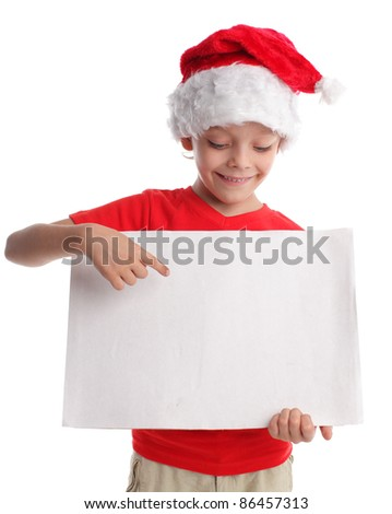 Child in a Christmas hat and the form in hands isolated on white #86457313